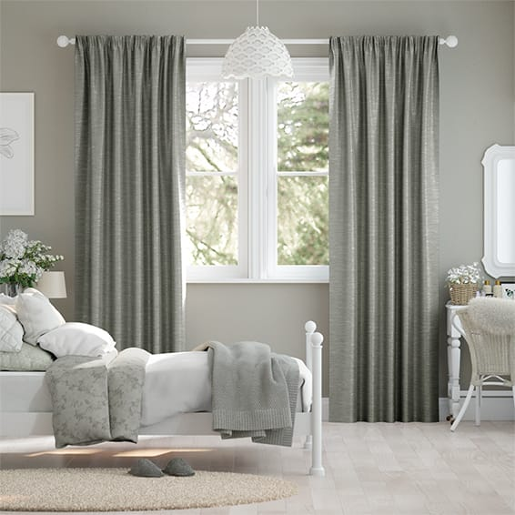 Ahisma Luxe Faux Silk Chrome Curtains