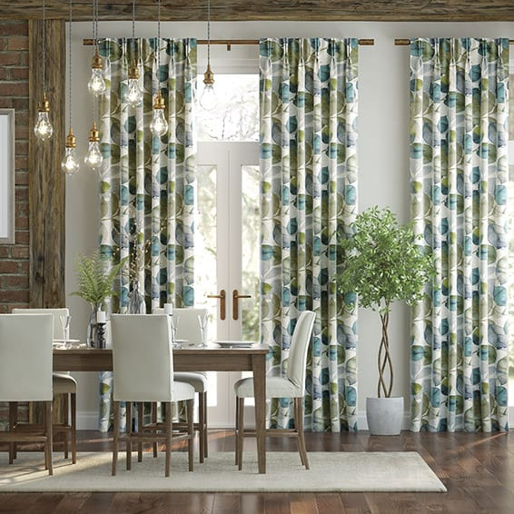 Blakely Linen Vintage Cyan Spring Curtains