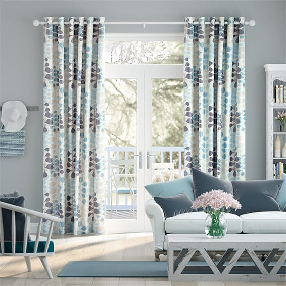 Blooming Meadow Faux Silk Blue Curtains