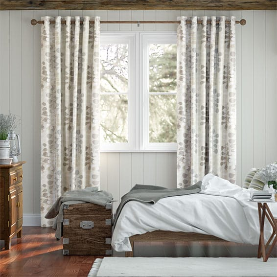 Blooming Meadow Faux Silk Neutral Curtains