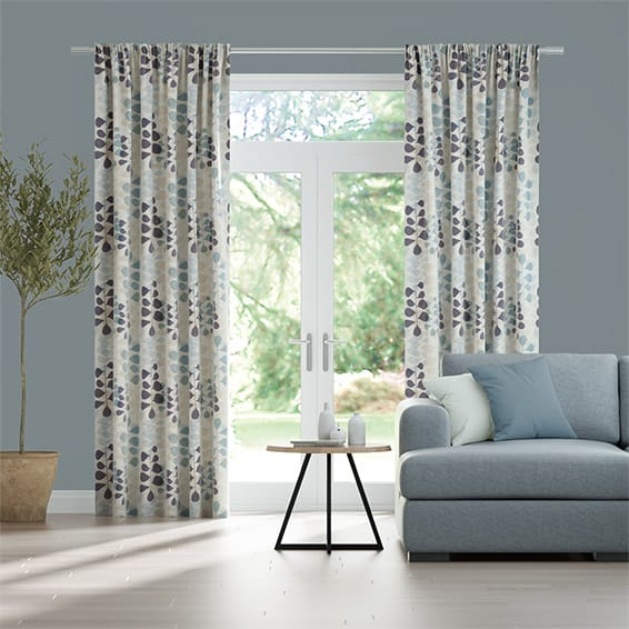 Blooming Meadow Linen Blue Curtains