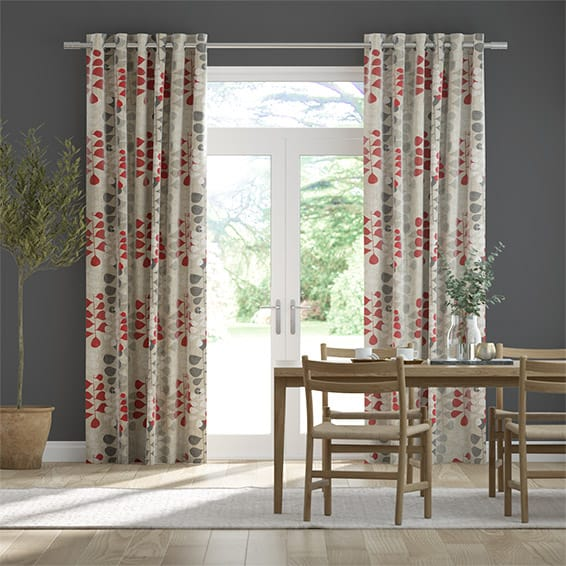 Blooming Meadow Linen Ruby Curtains