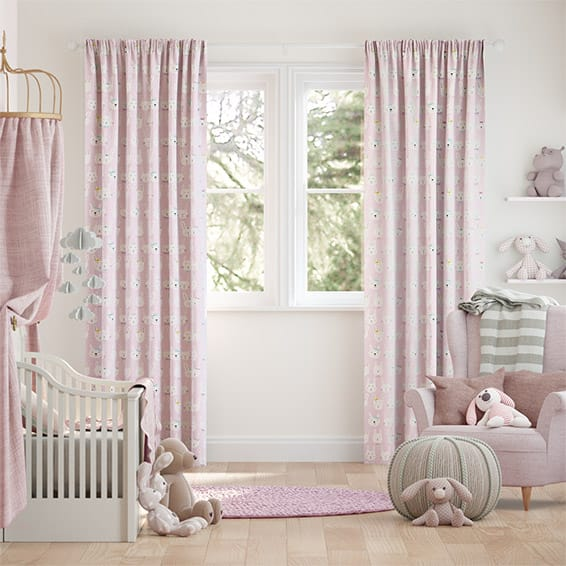 Bunnies Polka Pink Curtains