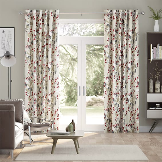 Bursting Berries Linen Cherry Pop Curtains