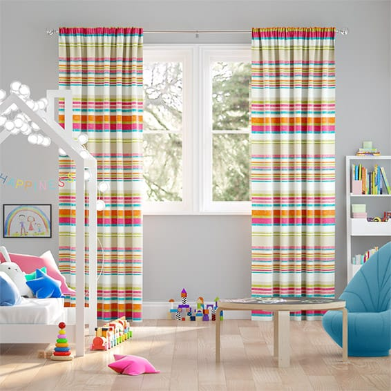 Calcutta Stripe Candyfloss Curtains