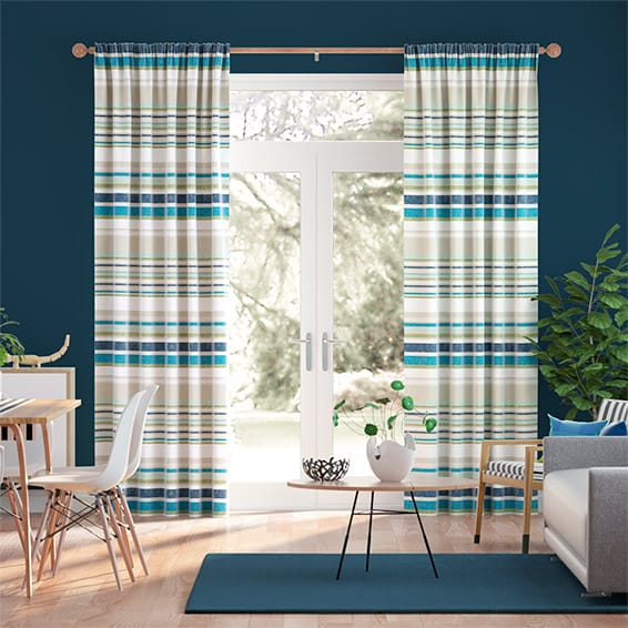 Calcutta Stripe Reservoir Blue Curtains