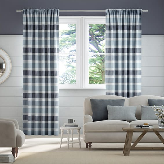 Cardigan Stripe Blue Horizon Curtains