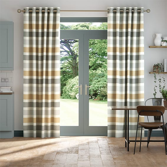 Cardigan Stripe Flax Grey Curtains