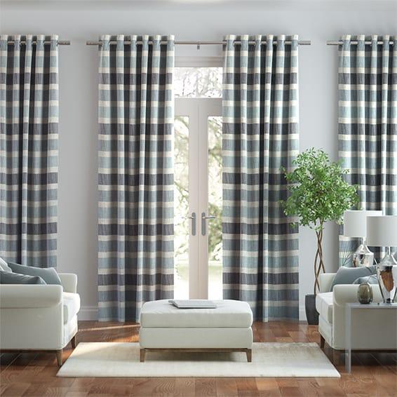 Cardigan Stripe Linen Blue Horizon Curtains