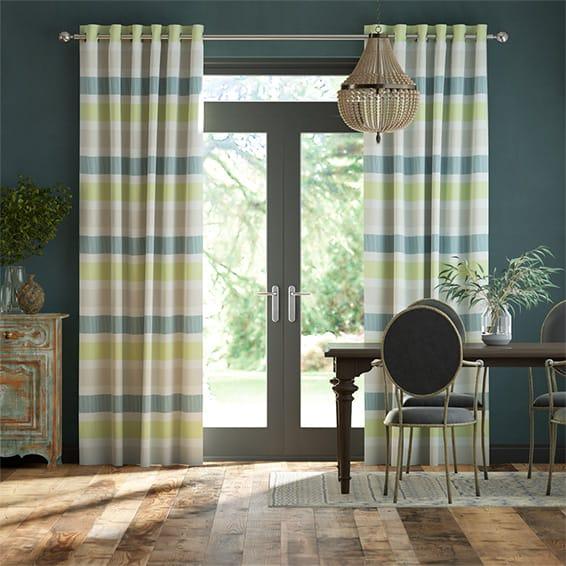 Cardigan Stripe Linen Sea Green Curtains