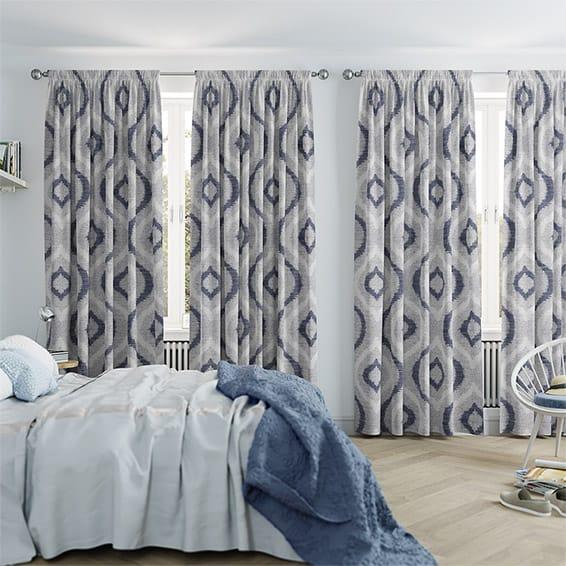 Catania Midnight Blue Curtains