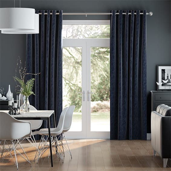 Clarence Deep Blue Curtains