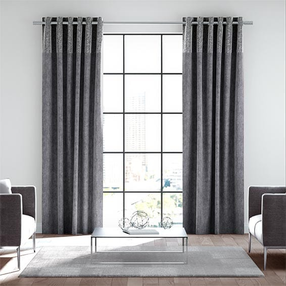 Cosmos Chenille Moonlit Grey Ready Made Curtains
