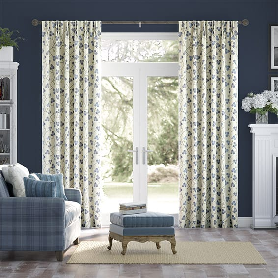 Country Blossom Linen Navy Blue Curtains