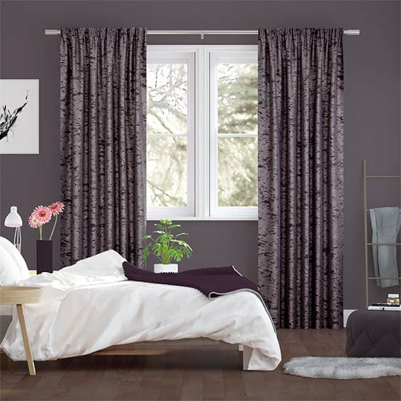 Crushed Velvet Plum Curtains