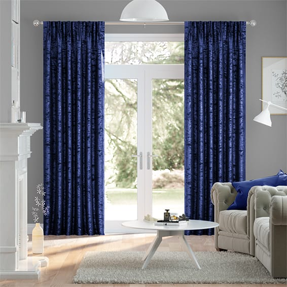 Crushed Velvet Royal Blue Curtains