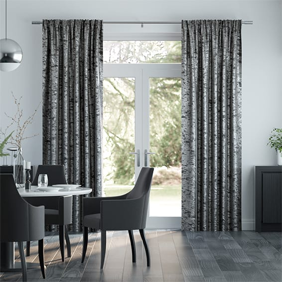 Grey Crushed Velvet Curtains, Stunning Made To Measure