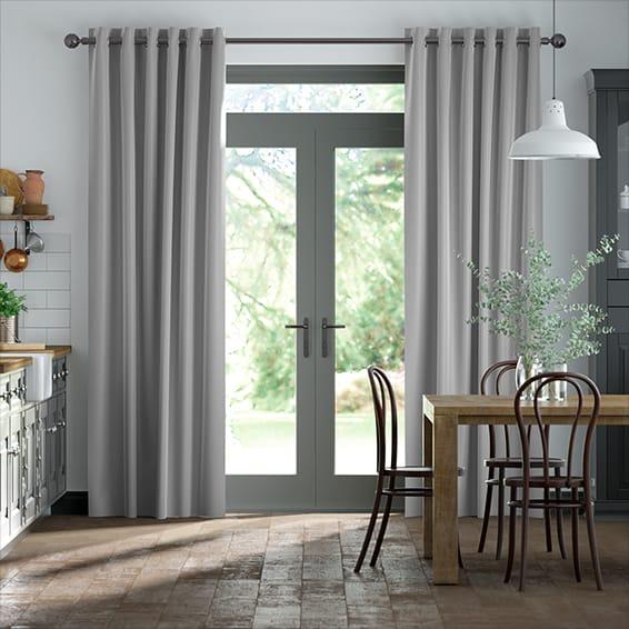 Dupioni Faux Silk Platinum Curtains