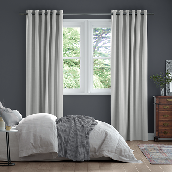 Dupioni Faux Silk Starlight Grey Curtains