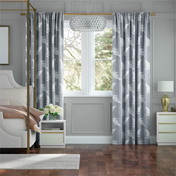 Eaton Embroidered Ash Curtains