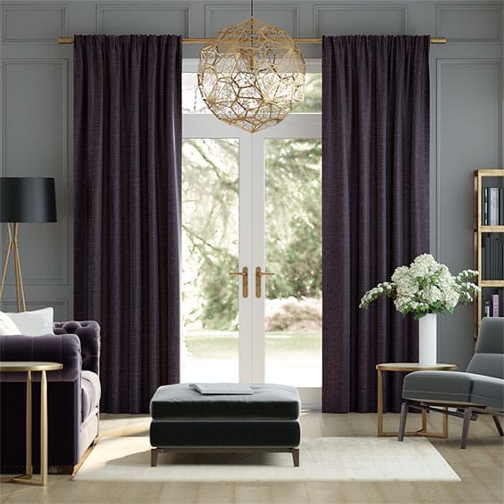 Eternity Linen Aubergine Curtains