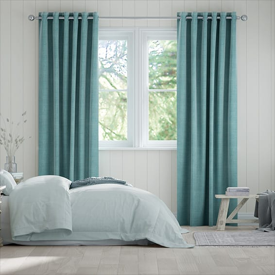 Eternity Linen Teal Curtains