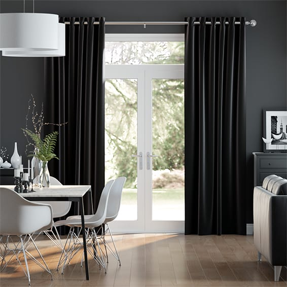 Fine Velvet Jet Black Curtains