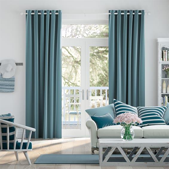 Fine Velvet Marine Blue Curtains