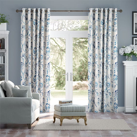 Floral Ink Linen Lagoon Curtains