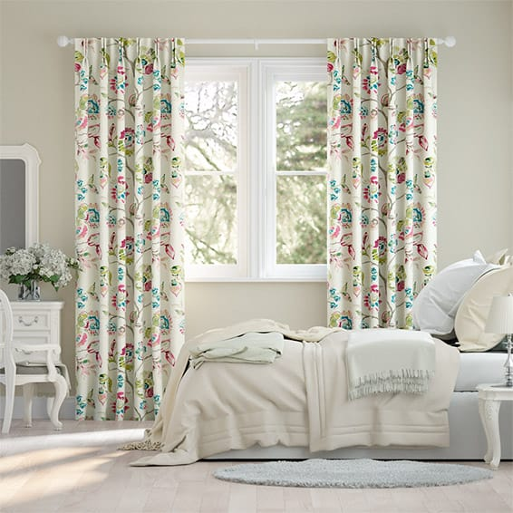Floral Ink Linen Punch Curtains