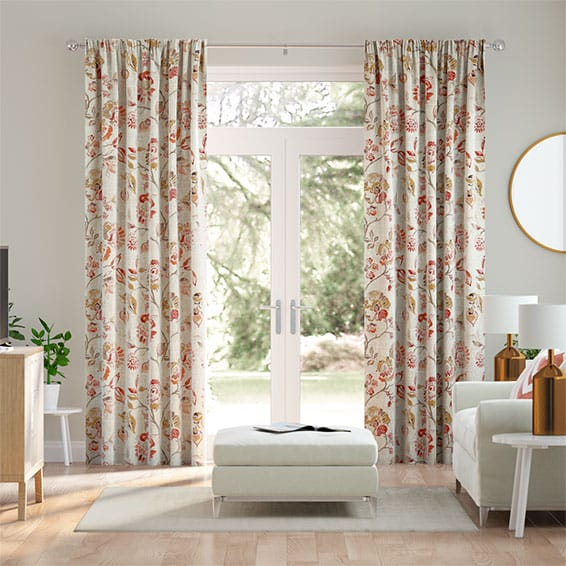 Floral Ink Linen Vintage Rose Curtains