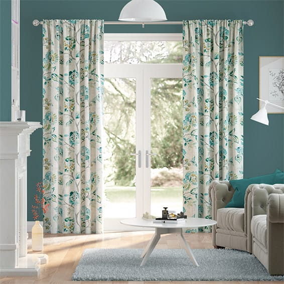 Floral Ink Linen Vintage Teal Curtains