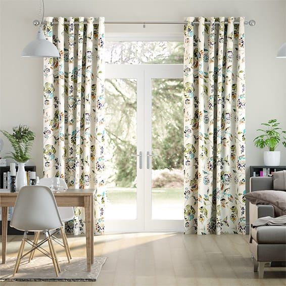 Floral Ink Violet Curtains