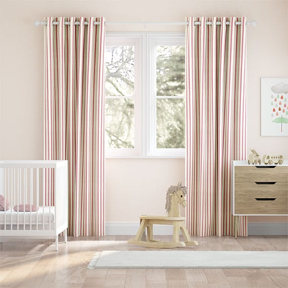 Hand Painted Stripe Rose Pink Curtains