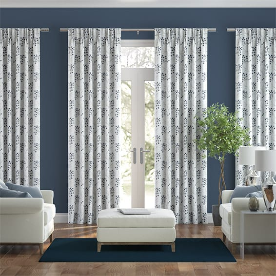 Hartland Embroidered Sapphire Curtains