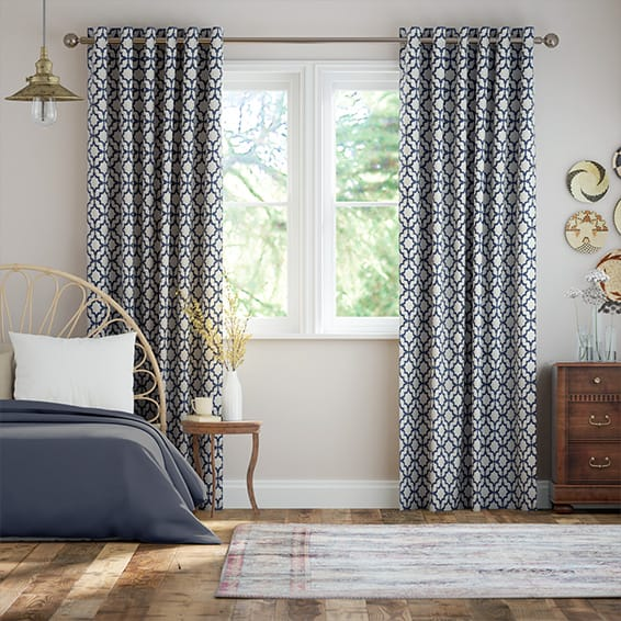 Lattice Navy Blue Curtains