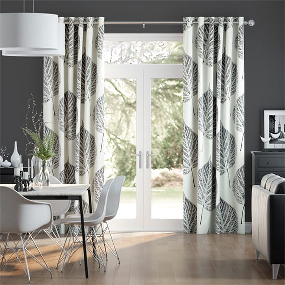 Leaf Charcoal Curtains