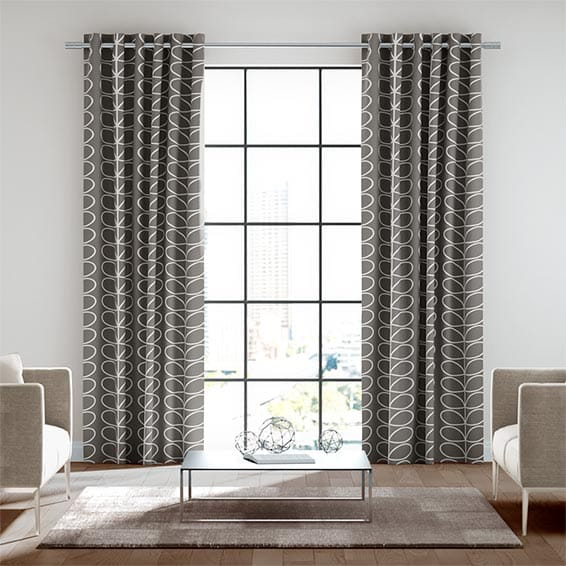 Linear Stem Charcoal Ready Made Curtains