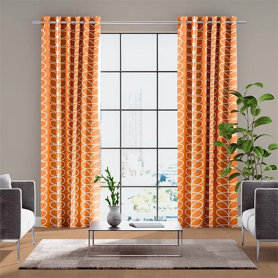 Linear Stem Papaya Ready Made Curtains