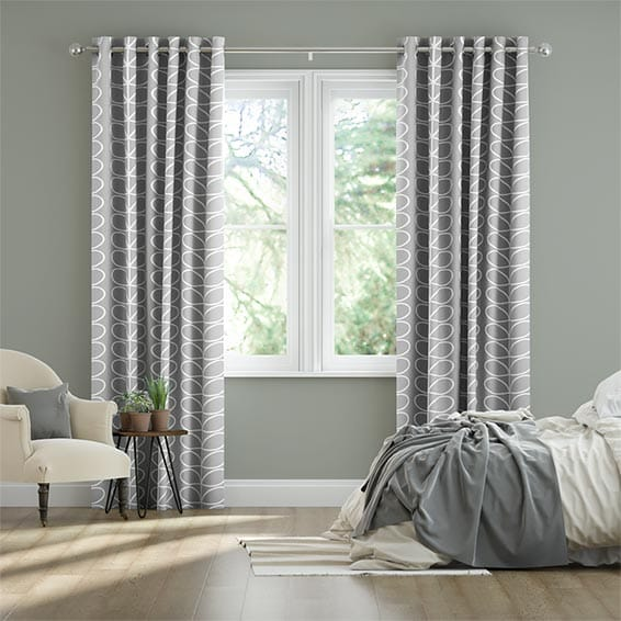 Linear Stem Silver Ready Made Curtains