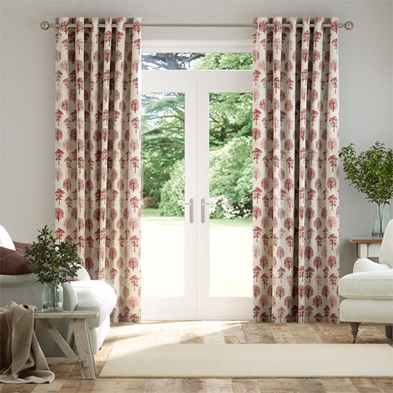 Little Orchard Scarlet Curtains