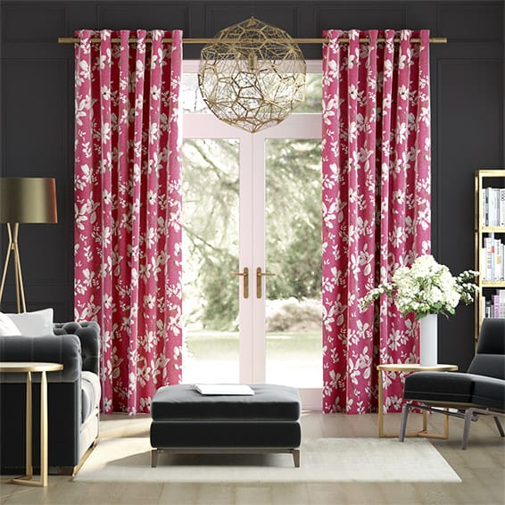 Madelyn Linen Passionate Pink Curtains