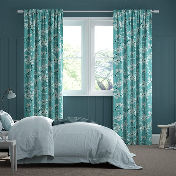 Madelyn Linen Tropical Blue Curtains