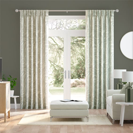 Makrana Faux Silk Spearmint Curtains