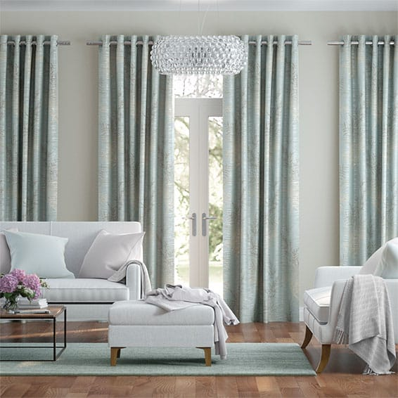 Moonlit Fern Faux Silk Pastel Blue Curtains