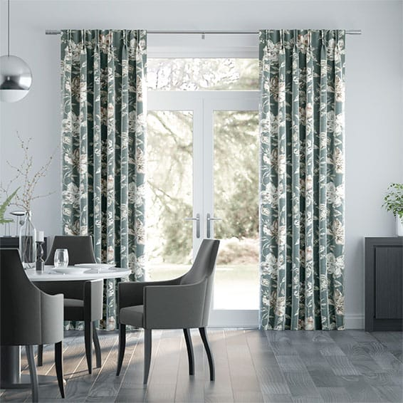 Painterly Floral Faux Silk Pewter Curtains