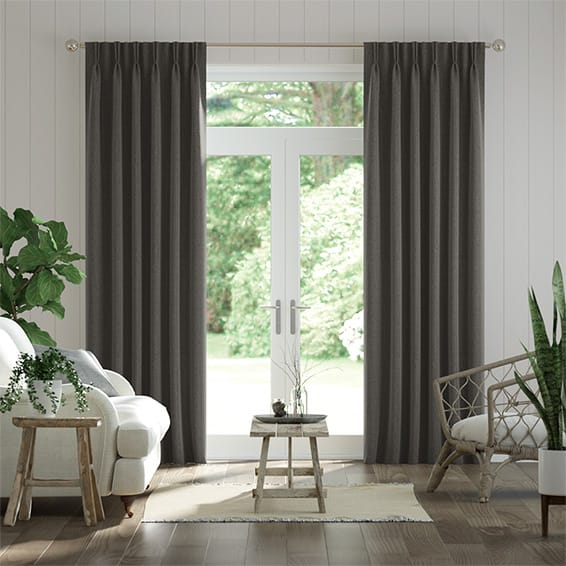 Paleo Linen Graphite Curtains