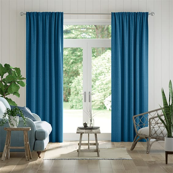 Paleo Linen Ocean Blue Curtains