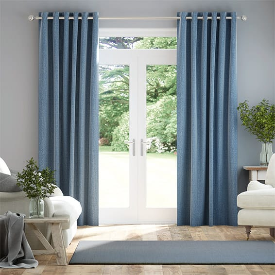 Paleo Linen Persian Blue Curtains