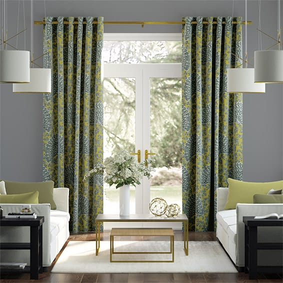 Pinion Velvet Lemon Sorbet Curtains